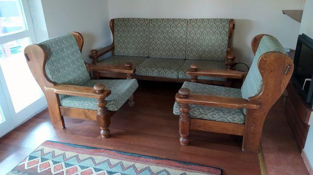 kanapa drewniana oraz 2x fotel drewniany zestaw PRAWDZIWE DREWNO