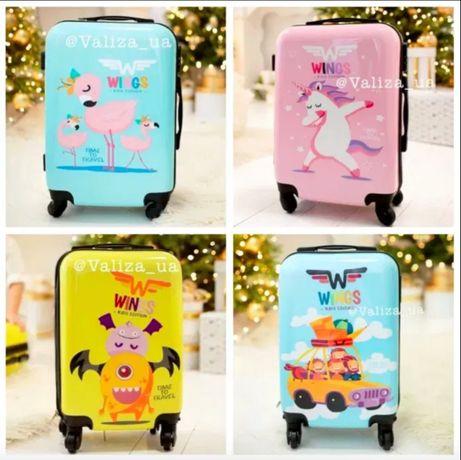 ПОДАРОК для девочки детский пластиковый чемодан с единорогом фламинго
