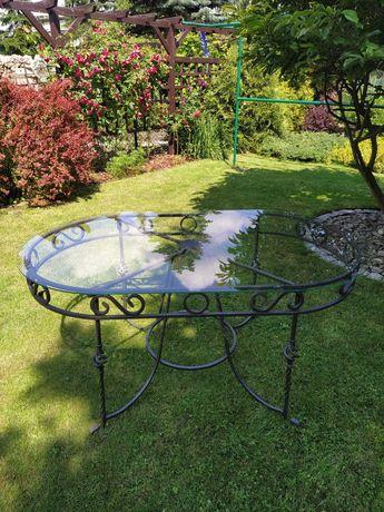 Stół ogrodowy szyba owal kuty