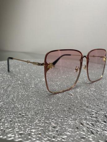 okulary przeciwsłoneczne lato różowe złote pszczoła