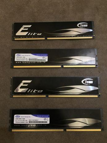 Память DDR3 16gb ДДР3 16гб (4х4) 1600мгцTeam Group Elite