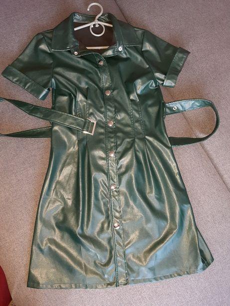 Кожаное платье. Новое. Размер S,