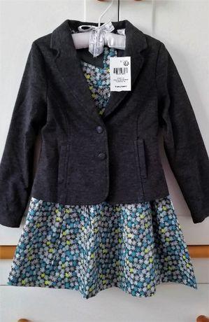 Komplet Okaidi, NOWY, żakiet/marynarka + sukienka r.104cm