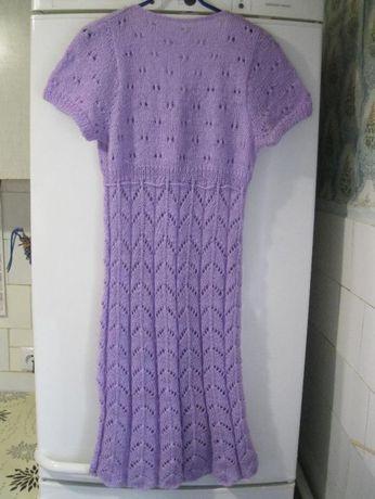 Мохеровое вязанное платье ручной работы