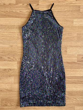 Женское обтягивающее платье размер S, в паетках