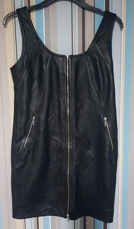 Sukienka skórzana czarna z zamkiem /rozmiar S