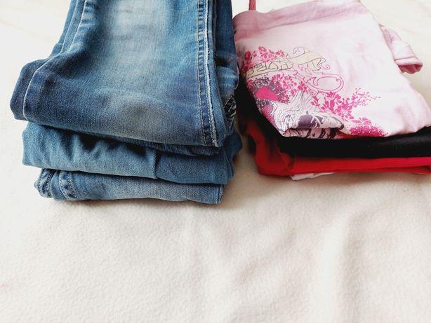Zestaw  Spodnie i bluzki ubrań dla dziewczynki rozm 122/128