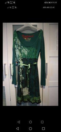 śliczna zielona sukienka markowa desigual