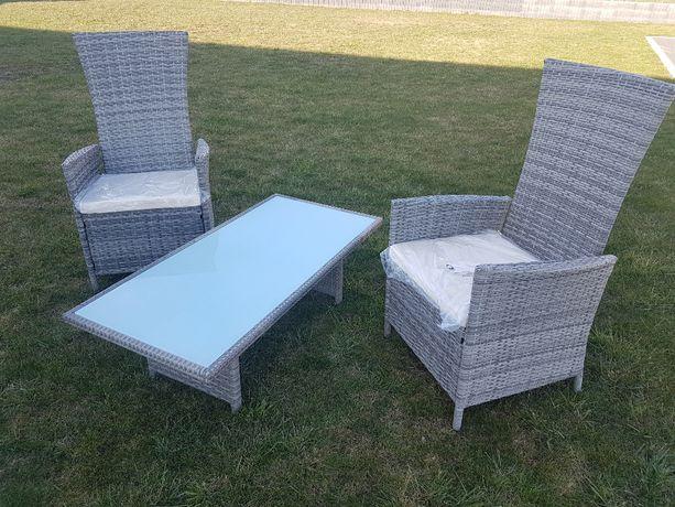Dwa fotele rozkładane + stolik! Meble ogrodowe,tarasowe! Technorattan