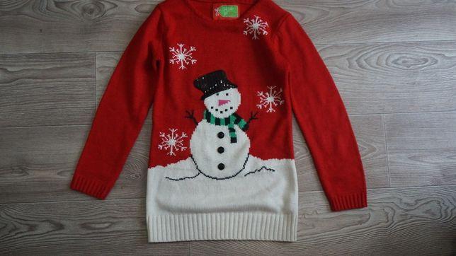 Красивое, тёплое новогоднее платье - туника,свитер для девочки 6-9 лет