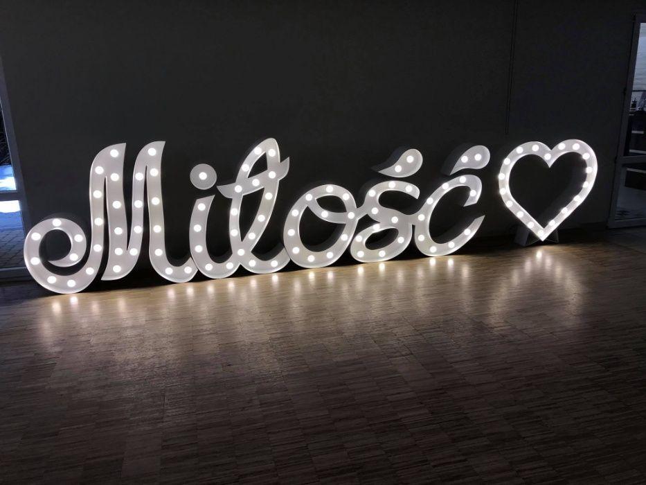 Podświetlany biały napis Miłość pisana 120 cm wysokości WYNAJEM Radom - image 1