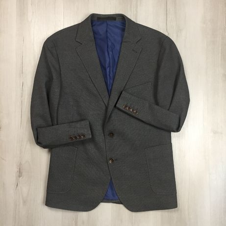 Оригинал! L Пиджак приталенный серый M&S темный костюм брюки