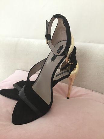 ZARA szpilki sandały czarne,złoty obcas