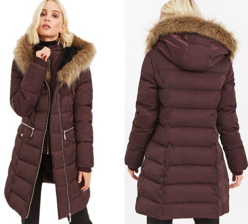 Новый зимний пуховик Oasis XS-S 34-36 бордовый куртка длинная парка хс