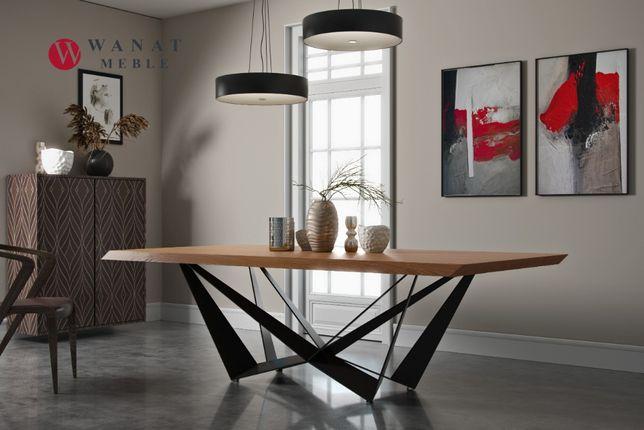 Stół noga metalowa + Lite drewno dębowe loft