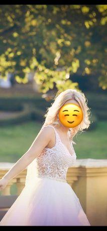 Suknia ślubna szyta na miarę 36/38 dwuczęściowa body+spódnica
