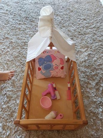 Łóżeczko drewniane dla lalek + Gratisy