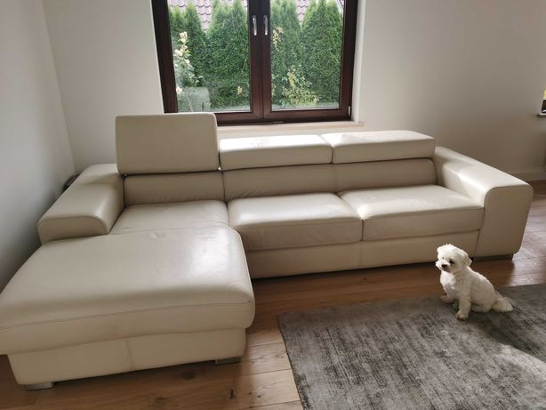 Sofa kanapa nie rozkładana Galaxy TC skóra naturalna biala nie kler