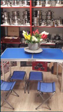 Стол для пикника складной +4 стула Усиленный с регулеровкой по высоте