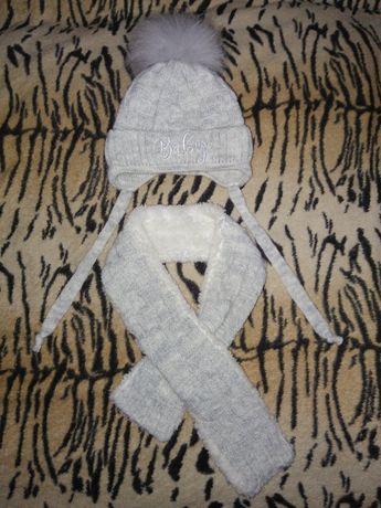Детская теплая зимняя шапочка шапка с шарфом 50% шерсть