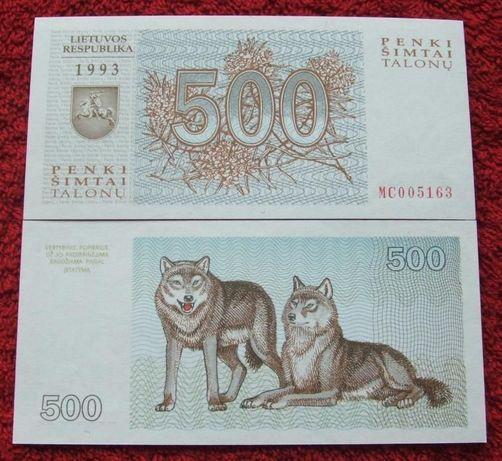 LITWA 500 TALONU Kolekcjonerski Banknot - 1 sztuka UNC