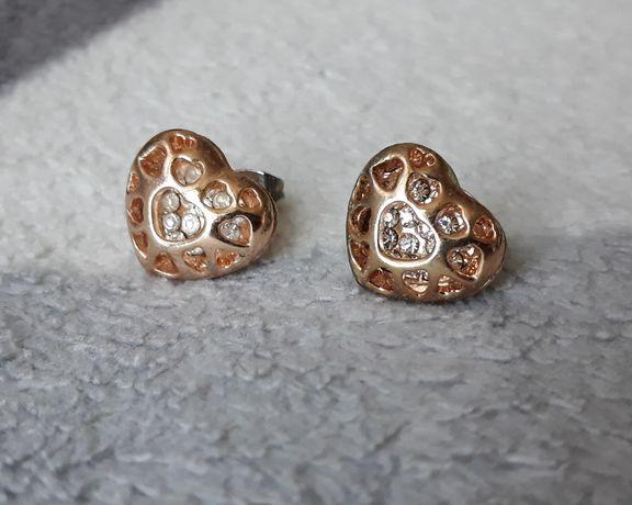 Kolczyki serduszka serca złote z cyrkoniami