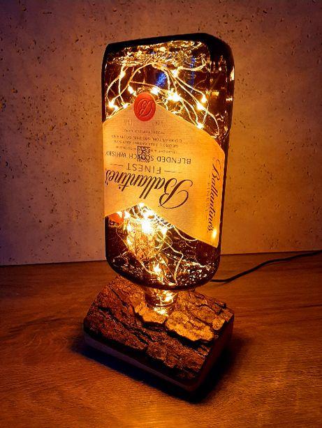 lampka nocna, dekoracyjna z butelki, handmade, loft, industria
