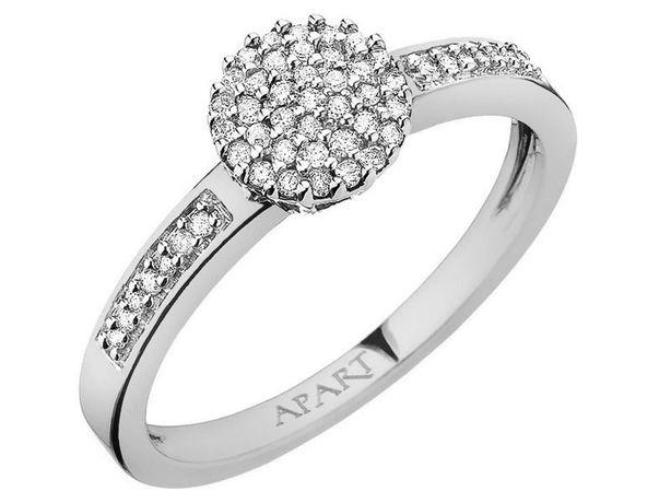 Pierścionek APART zaręczynowy 51 diamentów białe złoto NOWY