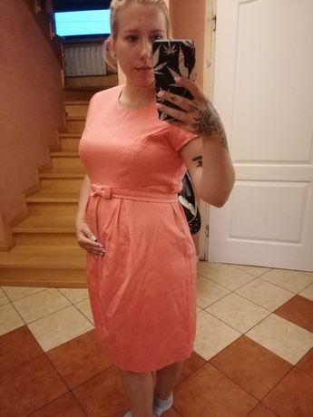 Sukienka łososiowa/różowa z paskiem
