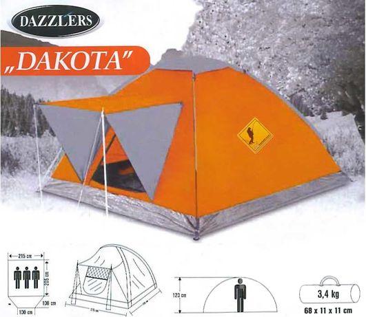 Палатка Dazzlers Dakota трехместная с козырьком оранжевая