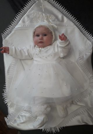 Костюм на крестины комплект платье на крещение