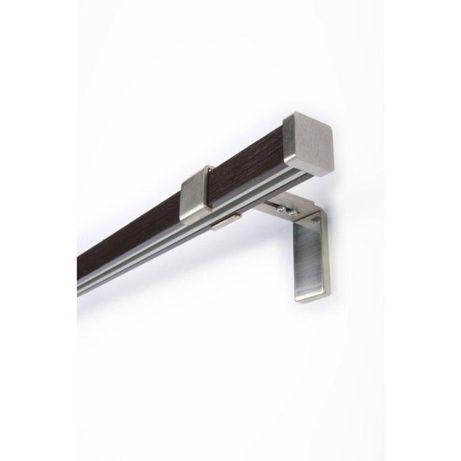 Mardom 2x Karnisz Drewniano Metalowy Cuadro 25/25 Brązowy 200cm