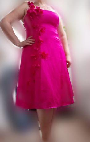 Розовое атласное платье р.52
