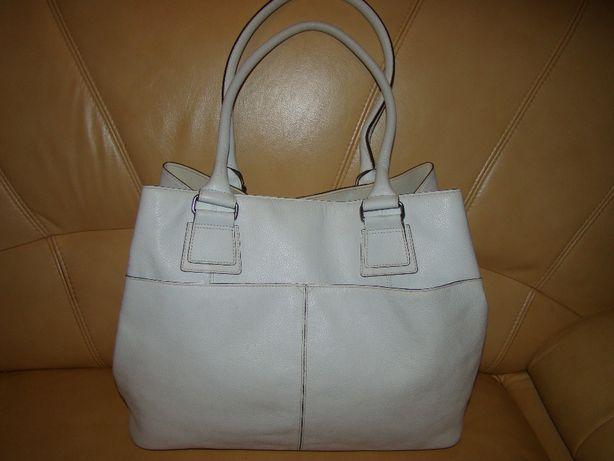 duża, skórzana, biała torebka - skóra naturalna, format A4