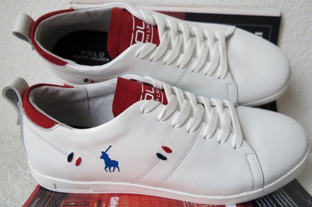 Polo Ralph Lauren Белые мужские туфли кеды слипоны кожа поло кроссовки