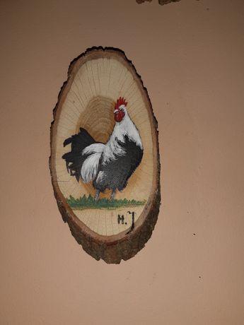 Malowane na Krążku Drewna Kogut  20 x 12