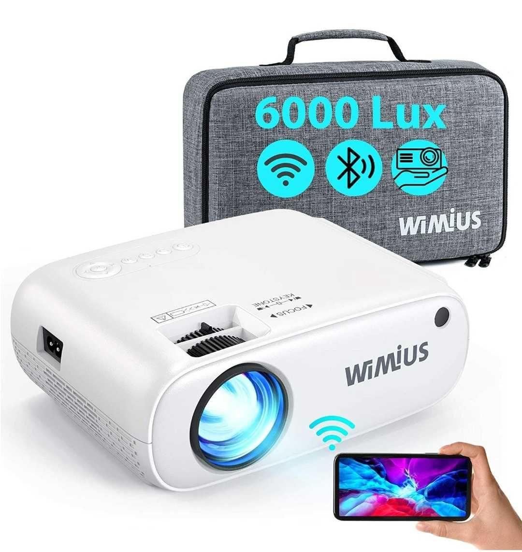 Projetor led 6000 lumens+WiFi+bluetooth+Mala que transporte/1080P/4k