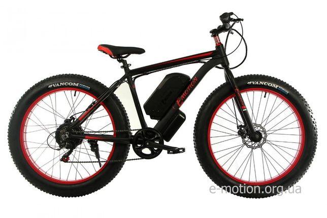 Новый электровелосипед Fatbike, марки E-motion GT, цвет чёрно-красный