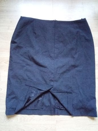 Ciemna prosta spódnica vintage, retro,44%wełny,rozporki roz.50 XXXL