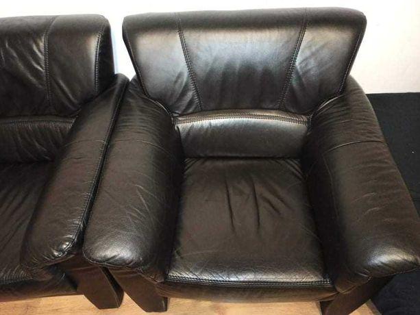 Skórzana sofa i fotel- komplet