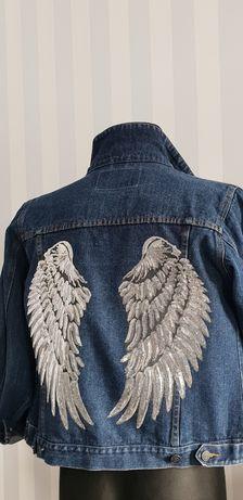 Kurtka jeansowa z aplikacją Skrzydła handmade