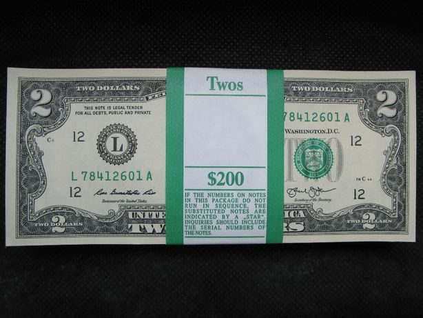 2 долара США корінець 100штук номер в номер