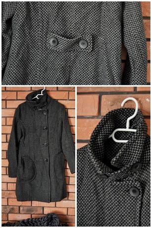 Szary płaszcz wełna 60% idealny na jesień M