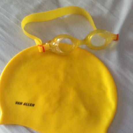 Touca silicone + óculos mergulho amarelos-preco p/conjunto