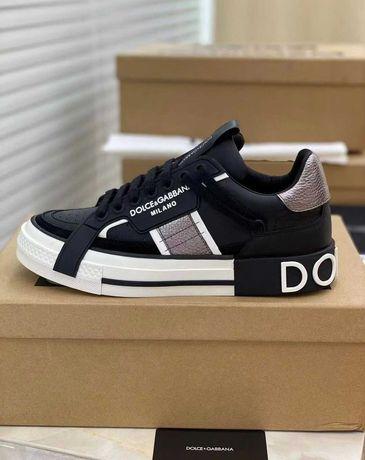 Женские черные кроссовки Dolce & Gabbana Дольче Габбана Portofino