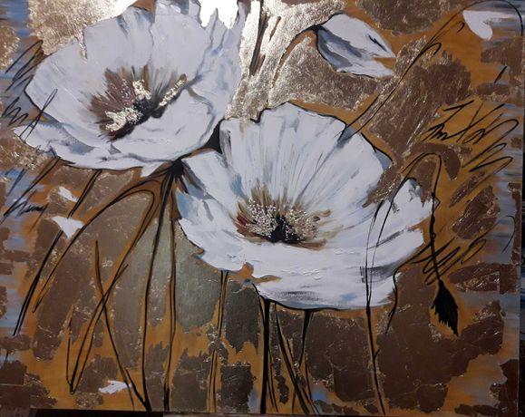 Цветы, маки, картина маслом на холсте 50х40.с декором поталью