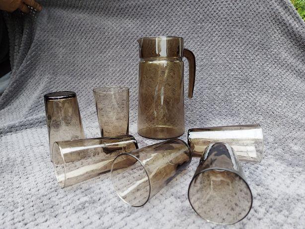 Komplet Szkło PRL, Dzbanek + 6 szklanek