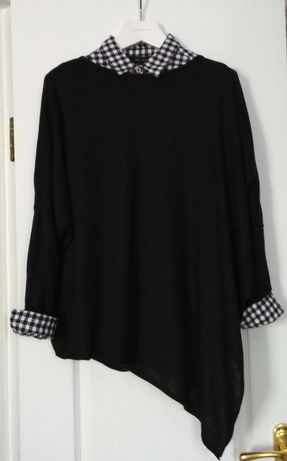 Туника свитер+ рубашка в клетку
