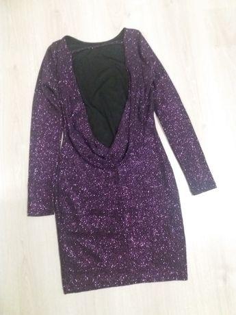 Вечернее фиолет платье с открытой спиной