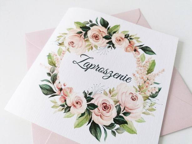 Zaproszenia ślubne Lato w różanym ogrodzie PUDROWY RÓŻ